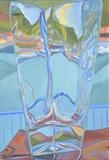 Fishing port through glass vase 1 by Cathy Williams, Painting, Oil on canvas