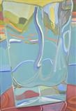Fishing port through glass vase 2 by Cathy Williams, Painting, Oil on canvas
