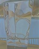 Fishing port through glass vase 8 by Cathy Williams, Painting, Oil on canvas