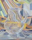 Glass jug in studio by Cathy Williams, Painting, Oil on canvas