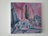 Glass still life 5 by Cathy Williams, Painting, Oil on canvas