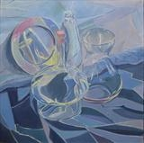 Glass with plate by Cathy Williams, Painting, Oil on canvas