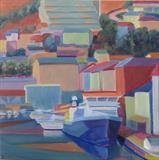 Quai Jean Moulin, Port-Vendres by Cathy Williams, Painting, Oil on canvas