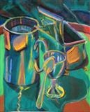 Silver still life 1 by Cathy Williams, Painting, Pastel on Paper