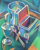 Silver still life 2 by Cathy Williams, Painting, Pastel on Paper