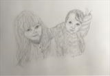 Sooriya and Gloria by Cathy Williams, Drawing, Pencil on paper