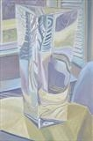 Window through glass vase 1 by Cathy Williams, Painting, Oil on canvas